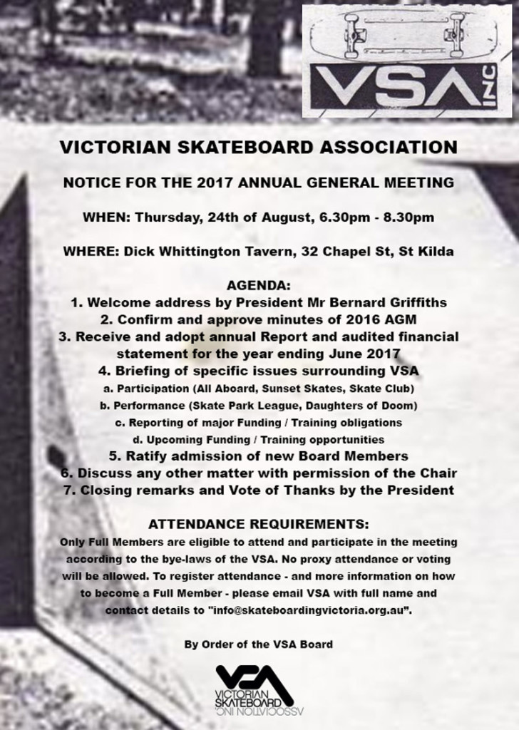 Notice for the 2017 VSA AGM: 24th of August, 2017.