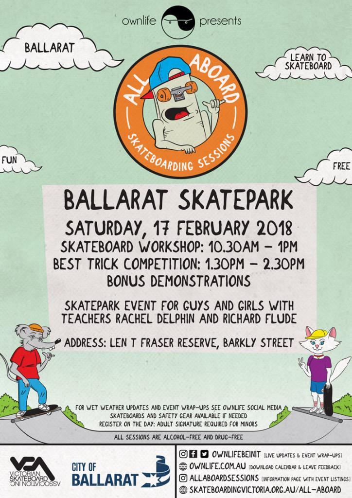 Ballarat All Aboard Skateboard Session this Saturday!